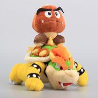 "Wholesale super mario mushrooms - 2 Pcs Lot Super Mario Plush Toys 10"" Koopa Bowser Dragon & Mushroom Goomba 14 cm Stuffed Dolls Children Toys"