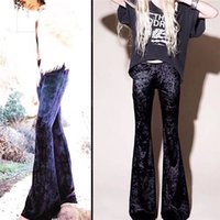 Wholesale European High Fashion - 2017 spring the new European and American fashion Slim was high waist elastic velvet bell-bottoms trousers