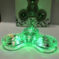 Compra Lampada Led Chiara-Luminoso Glitter Jelly Crystal TriSpinner Colorato Trasparente Led Fidget Spinner con lampada rotante Gyro Finger Toy Independent Switch Light up