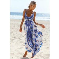 Wholesale hot sexy chest - 2017 hot sale printing strapless sexy backless long dress wrapped chest backless holiday maxi dress boho beach style dress