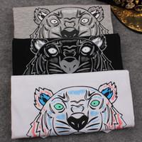 Wholesale Tiger Print T Shirts Women - Wholesale-2016 Summer Brand T Shirt Women Tops Tiger Head Letter Print T-shirt Cotton Short Sleeve Tshirt Women Men Tops black white