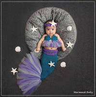 Wholesale Newborn Mermaid Crochet - Lace Mermaid Newborn Baby Photo Photography Props Infant Handmade Outfits Crochet Knit Cocoon Set Knitted baby Costume