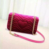 Wholesale 2017 NEW Ms velvet bag Newest Style Famous Brands Women Handbags High Quality Leather Geometric Pattern Chain Shoulder Bags Flap Messeng