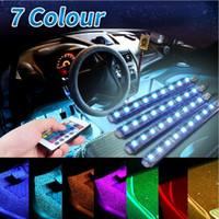 Wholesale Floor Lamp Remote Control - 4Pcs 5050 9 SMD 10W LED RGB Car Auto Interior Floor Decorative Atmosphere Strip Pathway Deco Floor Light Remote Control DC12V