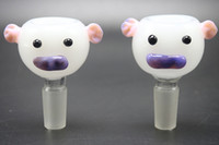 Wholesale Pig Logos - Multi-Colors Glass Bong Bowls With Pig Head Logo 14mm 18mm Male Female Lovely Pig Model Bowls For Glass Water Bongs Smoking Pipes