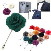 Wholesale Tie Pin Brooch Men - Wholesale- New Fashion Lapel Flower Camellia Handmade Boutonniere Tie Stick Brooch Pin Men Suit Accessories Boutonniere Stick Brooch Pin