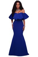 Wholesale Vintage Sequin Chiffon Maxi - Rose Royal blue Ruffle Off Shoulder Ponti Maxi Party Dress 2017 dubai arabic summer holiday beach occasion mermaid dresses gowns