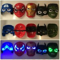 Wholesale new toy iron man for sale - 2017 NEW Batman Spiderman Iron Man Hulk Captain Americas Marvel Avengers Masks All have LED lights EMS Free