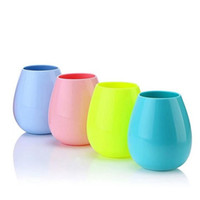 Wholesale Dishwasher Art - Silicone Wine Glass Stemless Cup Outdoor Cups Dishwasher Party Cups for Camping Pool Picnic Cup Wine Water Beer Whiskey Glass LJJK713