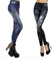 jeggings yazdırıyor toptan satış-YENI Kadın Faux Denim Jeans Tayt Kelebek baskılı Kalem Ince Peluş boyutu streç Jeggings Seksi Bayan Pantolon pantolon mavi siyah hediyeler