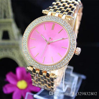 Wholesale Diamond Alloy Watch - Hot high quality american brand pink dress diamond color dials swiss replicas women watches alloy metal rose gold bracelet Girl for gifts