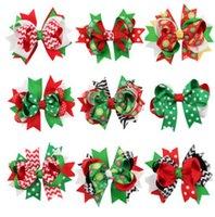 Wholesale Snowflake Stripe - Christmas baby girls hairpins kids polka dots wave printed Dovetail Bows hair clip 12CM children stripe snowflake Bowknot barrettes R0701