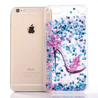 Wholesale Move Skin - Quicksand Sparkle High-heeled shoes Moving Love Skin Liquid Glitter Hard PC+TPU Case For Iphone 7 7P Plus 6 6S 6plus