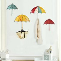 Metal ornament organizer - Colorful Umbrella Wall Hanging Decorations Key Hair Pin Holder Iron Ornaments Organizer Creative Style Bedroom Decor