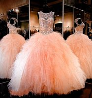 Бальное платье Quinceanera Gowns 2017 Rhinestone Crystals Blush Peach Sheer Jewel Sweet 16 Ruffle Ruffles Юбка Princess Prom Ball Party Gowns
