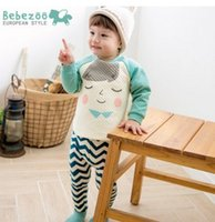 Wholesale Thick Baby Pajamas - baby boy clothes toddler clothing Set Korean Winter Brand Clothing Cartoon Long Sleeve Tops+Long Pants Plus Thick Kids Pajamas Sets 7524