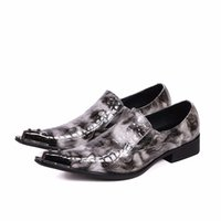 Neue Männer Schuhe Lackleder Grau Slip On Oxford Schuhe Metall Pointy Toe Chaussure Homme Fashion Party Schuhe Plus