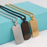 colar de corrente de aço inoxidável homens venda por atacado-Charme de Aço Inoxidável de Prata de Ouro Preto Jóias Mens Dog Tag Pingente de Colar de 24 polegadas caixa de Cadeia