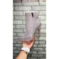 Wholesale High Heel Pump Boots - Paris Women Boots Fashion Winter Boots Shoes Suede Rivet High-heeled Pumps Grey Luxurious Brand Zipper Boots With Zip Fastener ZIPPER