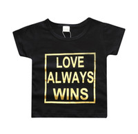 Wholesale Kids Baby letters metallic printing T shirt love always wins printed black short sleeve T shirt ins hot clothing for T