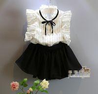 Wholesale Skirt Suit Ol - Kid Girls 2PCS Set Suit Striped Flying Sleeve Shirt +Lovely Skirt Pants Temperament OL Sweety Kid Girls Suit D7180