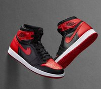 Wholesale Bans Men - (withbox) 2017 air retro 1 OG High Banned black red white men basketball shoes retro 1s sports shoes athletic trainers sneakers size 41-47