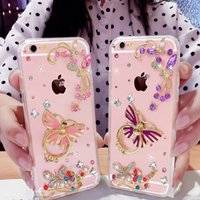 Wholesale Purple Butterfly Iphone Cases - For iphone 5s se 6 6s 7 8 plus X Luxury Cute Crystal Diamond Butterflies Lingering over Flowers Finger Ring buckle phone case