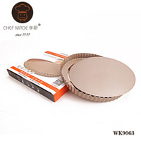 Wholesale golden dishes - Wholesale- High Quality WK9063 golden 9.5-inch nonstick live bottom tart pan round pie pan baking mold Kitchen Tools