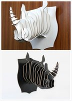 Wholesale Wooden Carvings Wall Art - YJBETTER DIY 3D Wooden Puzzle Animal Rhino Head Wall Hanging Home Decor Wood Rhino Decoration Carved Wooden Animals Wall Art (a pair)