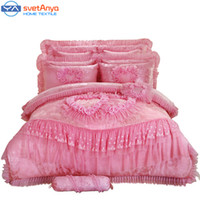 Wholesale wedding bedding sets lace - Wholesale-10pc 6pc Lace heart princess wedding bedding sets queen king size duvet cover +quilted bedcover+pillow sham+cushion pink red