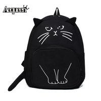 Wholesale Bookbags For School - Wholesale- AEQUEEN Lovely Cat Printing Backpack Women Canvas Backpack School Bags For Teenagers Ladies Casual Cute Rucksack Bookbags