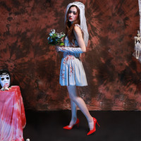 Wholesale female couples costumes - 2017 Halloween Halloween cosplay clothing stage costumes female Couples spirits Halloween zombie ghost bride free shipping