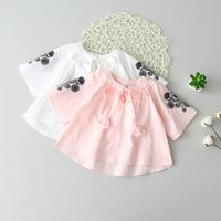 Wholesale Pink Ruffle Blouse Top - Everweekend Girls Floral Embroidered Summer Tees Candy White Pink Color Ruffles Tops Cute Baby Children Fashion Blouse