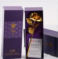 Wholesale Golden Flowers Decorations - Creative Birthday Wedding gif,24k Manual Golden Rose Lover's Flower Gold Dipped Rose,Artificial Flower Gold Painted Decoration