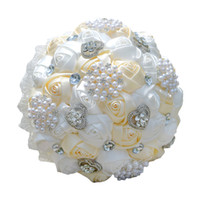 Wholesale Stocking Flower Chinese - 2017 Newest Wedding Bridal Bouquets Handmade Flowers Peals Crystal Rhinestone Rose Wedding Supplies Bride Holding Brooch Bouquet In Stock
