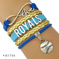 Wholesale City Hearts - (10 Pieces Lot) Infinity Love Baseball Kansas City Royals Bracelet Mens Womens Custom Any Themes Drop Shipping