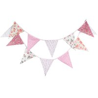 Wholesale Hanging Flag Pennant - Wholesale-3.7 meters of Cotton Pink Pennant hanging wedding decoration children birthday party's room decoration decoration drawing flags