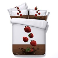 Wholesale Girls Strawberry Bedding - 3D Printed Strawberry Chocolate Bedding Sets Twin Full Queen King Size Bedspread Bedclothes Duvet Covers Girls Fruit Food White Brown 3 4PCS