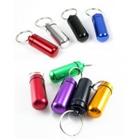 Wholesale Wholesale Containers Bottles Boxes - Waterproof Aluminum Alloy Pill Box Pill Fob Bottle Cache Holder Keychain Container Color Random 17MM*48MM