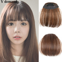 Wholesale hair fringes - Wholesale-100% LIke Human Hair Extension Clips In On Side Bangs Hair Fringe High Quality Hair Piece 3 Colors