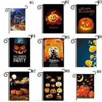 Wholesale Halloween Garden Flags cm Pumpkin Ghost Party Home Decor Outdoor Hanging Polyester Garden Flags Halloween Decorations OOA2508