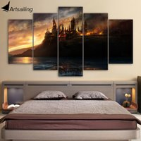Wholesale Castle Wall Art - 5 Piece Canvas Art Harry Potter Castle Printed Wall Art Home Decor Canvas Painting Picture Poster Prints Free Shipping NY-6573A