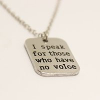 """Wholesale Alloy Spokes - New fashion necklace hand stamped """"I speak for those who have no voice""""pedant necklace Fashion Necklace for women jewelry"""