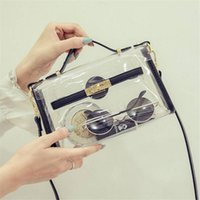 Wholesale Packaging Design Cell Phone - Wholesale-New design transparent bag transverse clear platinum package summer beach bag small tote shoulder bag crossbody bags for women