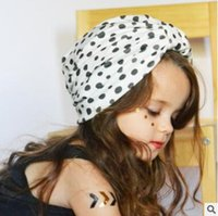 Wholesale Turbans Hats Scarves - Children Turban Hat 2017 Turban Hats Dot Polka Kids Baby Hats Skull Beanies Head Scarves Bohemia India Dome Caps Girls Knot India Hat