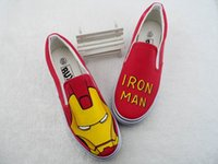 Wholesale Hand Painted Slip Sneakers - Fashion Canvas Cartoon Shoes Hand-painted Ironman Graffiti Handpainted Shoes Iron Man Low Sneakers Loafers Men Women Shoes Cheap Sale