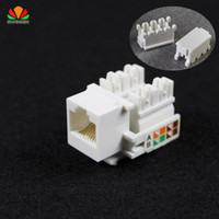 Wholesale Amp Computer - Wholesale- 10pcs CAT5E UTP network module Tool-free RJ45 connector Information socket Computer Outlet cable adapter Keystone Jack FOR AMP
