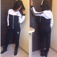 Wholesale V Ads - Women Sport Suits Printed Tracksuits Long-sleeve Casual Sportwear Costumes 2 Piece clothing set fall-ads Hoodies Sweatshirt