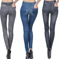 Pockets bleaching polyester - New Womens Leggings Jeggings Womens Fashion Denim Look Pants High Quality