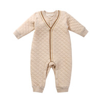 Wholesale winter clothing girls - 2017 new arrival kids clothing winter cotton wool men s color cotton long sleeved climbing single breasted baby conjoined jumpsuit